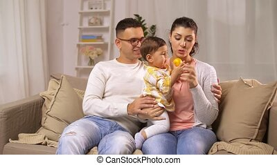 bébé, maison, girl, famille, heureux