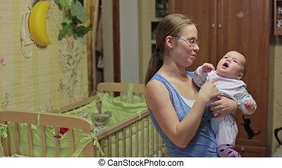 bébé, maison, mère