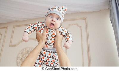 bébé, maison, père, jouer, fils