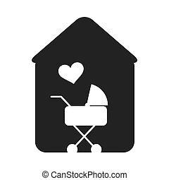 bébé, maison, voiture, forme