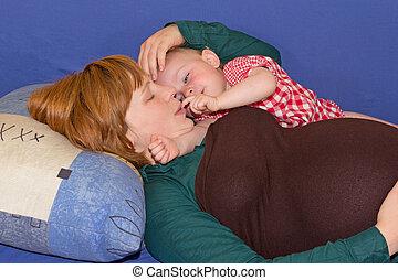 bébé, maman, fille, elle, pregnant