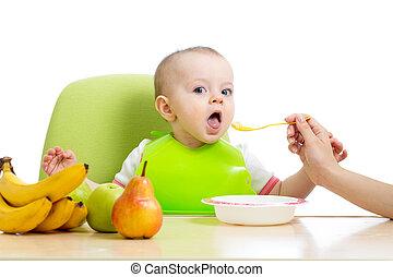 bébé, manger sain, nourriture, fruits
