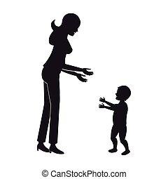 bébé, marche, silhouette, mère