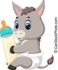 bébé, mignon, âne, dessin animé