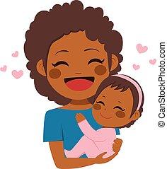 bébé, mignon, américain, africaine, mère