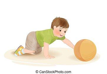 bébé, mignon, balle, jouer