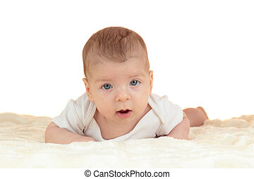 bébé, mignon, blanc, isolé, garçon