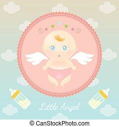bébé, mignon, bouteille, ange, lait