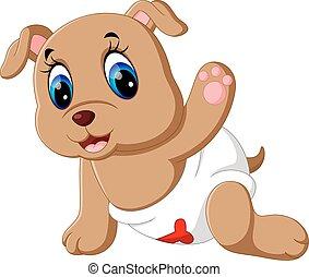 bébé, mignon, chien, dessin animé