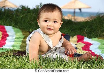 bébé, mignon, dehors, heureux, garçon