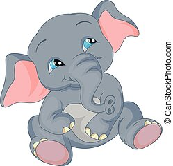 bébé, mignon, dessin animé, éléphant