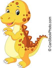 bébé, mignon, dessin animé, dinosaure