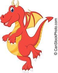 bébé, mignon, dessin animé, dragon