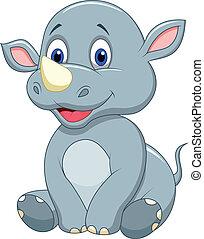 bébé, mignon, dessin animé, rhinocéros