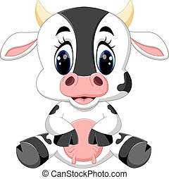 bébé, mignon, dessin animé, vache