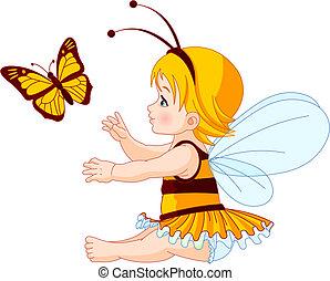 bébé, mignon, fée, papillon