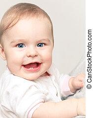 bébé, mignon, fille souriante
