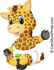 bébé, mignon, girafe, dessin animé