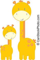 bébé, mignon, girafes