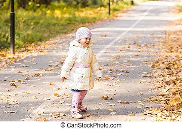 bébé, mignon, girl, automne