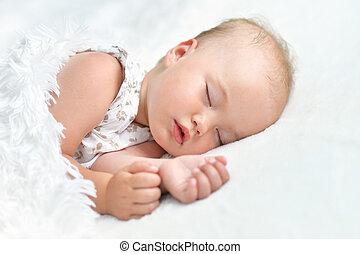 bébé, mignon, girl, dormir