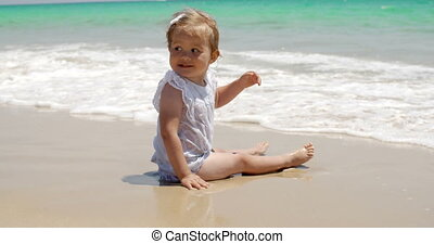 bébé, mignon, girl, plage, séance