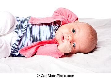 bébé, mignon, girl, pose, berceau
