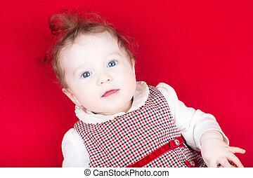 bébé, mignon, girl, robe, rouges
