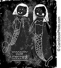 bébé, mignon, girl, sirène, illustration