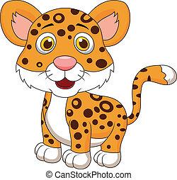bébé, mignon, jaguar, dessin animé