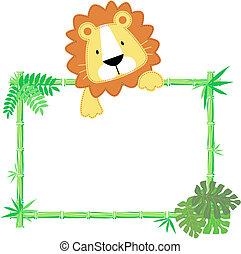 bébé, mignon, lion, cadre