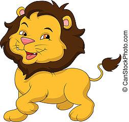 bébé, mignon, lion, dessin animé