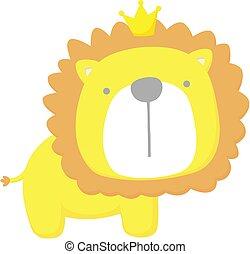 bébé, mignon, lion, roi