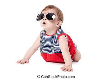bébé, mignon, lunettes soleil, isolé, heureux