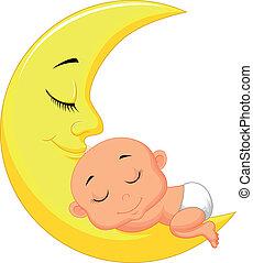 bébé, mignon, m, dessin animé, dormir