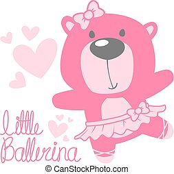 bébé, mignon, ours, ballerine