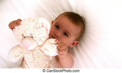 bébé, mignon, ours, lit, teddy
