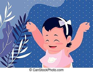 bébé, mignon, petite fille, séance