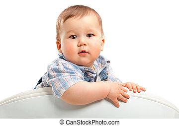 bébé, mignon, peu, blanc, garçon