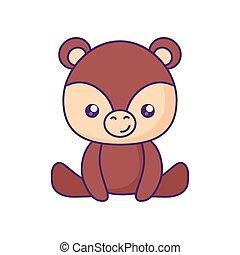 bébé, mignon, peu, caractère, ours