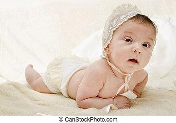 bébé, mignon, peu, casquette