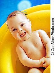 bébé, mignon, piscine, portrait