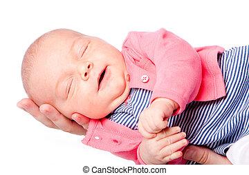 bébé, mignon, pose, main