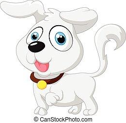 bébé, mignon, poser, dessin animé, chien