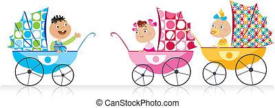 bébé, mignon, promeneurs, bébés