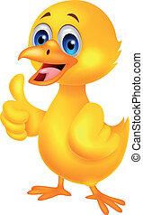 bébé, mignon, thum, poulet, dessin animé