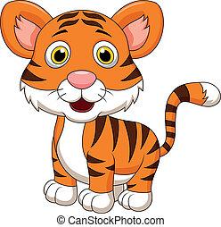 bébé, mignon, tigre, dessin animé
