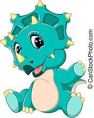 bébé, mignon, triceratops, dessin animé