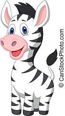 bébé, mignon, zebra, dessin animé