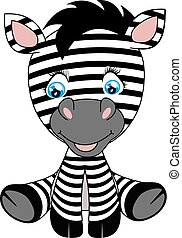 bébé, mignon, zebra, illustration, dessin animé